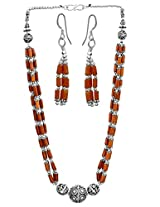 Exotic India Coral Necklace with Matching Earrings Set - Sterling Silver