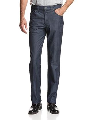 Oxxford Men's Solid Denim Pant (Light Navy)