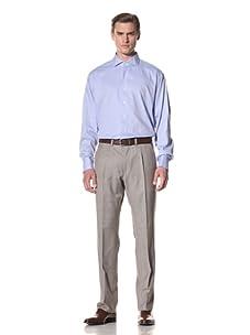 Domenico Vacca Men's Herringbone Button-Up Shirt (Blue)