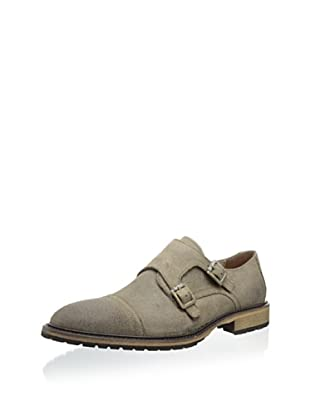 Andrew Marc Men's Crown Monk Strap Oxford (Light Ghurka/Black Natural Leather)