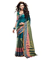 Roop Kashish Cotton Saree With Zari Border Saree(Aasma_Blue)