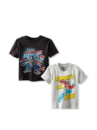 Freeze Boy's Transformers 2-Pack T-Shirt Bundle (Black/Silver)
