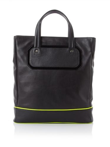 Jason Wu Women's Zip Top Shopper, Black/Citron