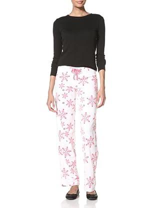 Aegean Apparel Women's Snowflake Fleece Pants (Pink/White)
