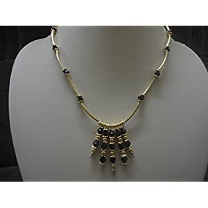 Mona Jewels Gold & Black Tube Necklace With Straight Earrings