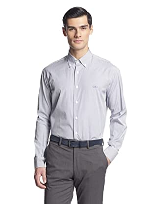 Salvatore Ferragamo Men's Stripe Dress Shirt (Blue Stripe)