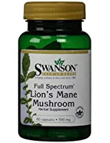 Full Spectrum Lion's Mane Mushroom 500 mg 60 Caps by Swanson Premium