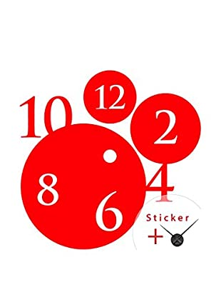 Ambiance Live Wandtattoo Clock with bubbles and numbers rot