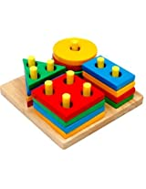 Little Genius Shape and Colour Stacking Board, Multi Color