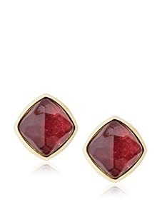 Kara Ross Watersnake Stud Clip-On Earrings, Ruby Red