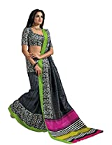 De Marca Black Raw Silk A2409 Saree
