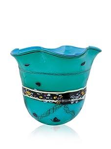 Viz Art Glass Stripe Turquoise Vase
