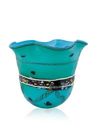 La Meridian Stripe Turquoise Vase