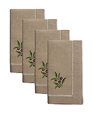 Henry Handwork Set of 4 Olive Branch Embroidered Napkins, Natural