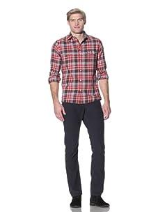 Benson Men's Plaid Shirt (Red Plaid)