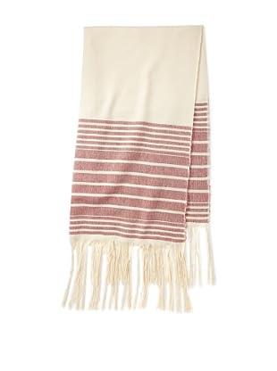 Mili Designs Women's Essouria Striped Cotton Scarf (Cream/Red)