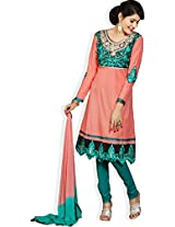 atisundar admirable Peach Traditional Embroidered Anarkali- 4394_39_1352