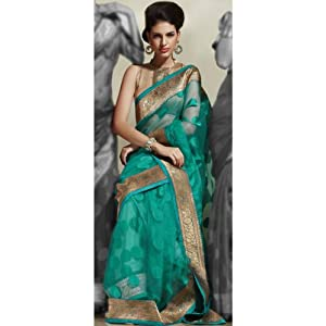 Utsav Fashion SSL1660B Self Weaving Saree - Sea Green