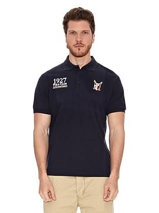 Polo Club Polo Manga Corta Custom Fit Escudo & Date (Azul Marino)