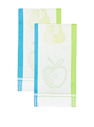 Mierco Fine Linens Set of 2 Apple Jacquard Tea Towels, Blue/Green, 20