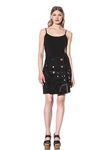 Desigual Women's Embellished A-Line Skirt (Black)