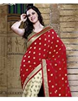 Viscose and Net Saree with Blouse