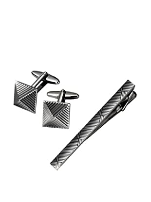 Wilouby Gunmetal Tie Clip & Cufflink Gift Set