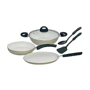 Nikitasha NT-CK-9011 - CC 3mm Ceramic Coated Cookware Set of 6 Pcs - White