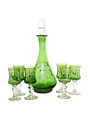 Uptown Down Decanter with 6 Glasses, Green/Gold