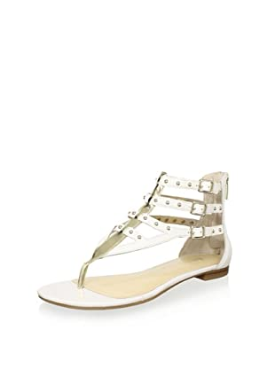 ENZO ANGIOLINI Women's Tobyn Multi Buckle Sandal (White/Light Gold)