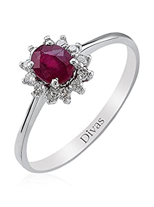 Divas Diamond Anillo Piedra Rubí (Plata)