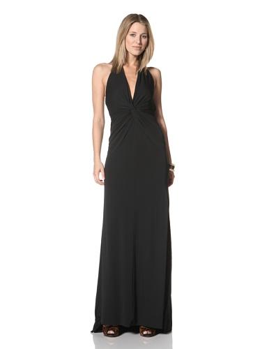 Halston Heritage Women's Twist Front Halter Gown (Black)