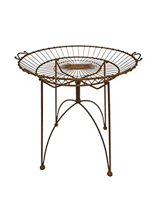 Three Hands Metal Tray Table, Rust