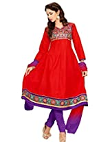 Red cotton anarkali casual wear suit with embroidered work and chiffon dupatta