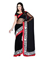 Fabdeal Black Net Printed Saree Sari Sarees-QQCSR9060RYI