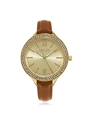SO & CO Women's 5089.2 SoHo Tan/Gold Leather Watch