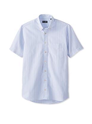 Gitman Blue Men's Vintage Kissing Stripe Oxford Sportshirt (Blue)