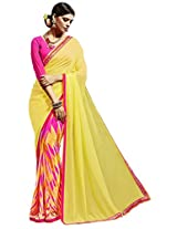 Viva N Diva Yellow & Pink Color Weightless Saree.