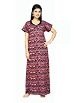 Soulemo 191B L red&pink discharge cotton print nightwear, nighty cotton nighty.