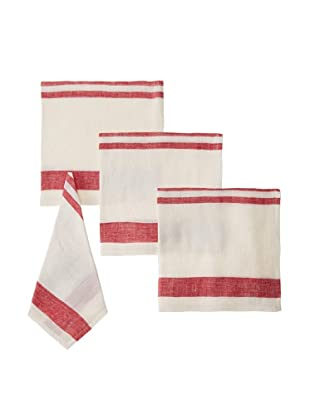 Found Object Chambery Set of 4 Linen/Cotton Napkins (White/Red)