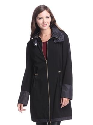 Calvin Klein Women's Cinched Waist Reversible Raincoat (Black)