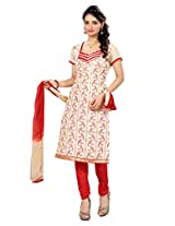7 Colors Lifestyle Light Cream Coloured Embroidered Chanderi Unstitched Dress Material
