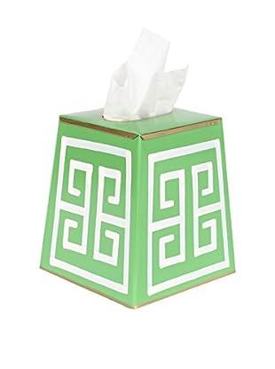 Jayes Greek Key Tissue Box Cover, Green