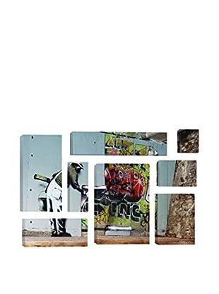 Banksy Graffiti Wallpaper Hanging 8-Piece Giclée On Canvas