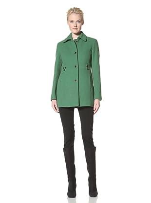 Calvin Klein Women's Single-Breasted Wool Coat (Green)
