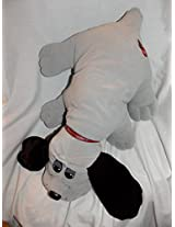 "1985 Vintage Pound Puppies 23"" Large Jumbo Size Plush Gray Pound Puppy Dog With Long Dark Brown Ears"
