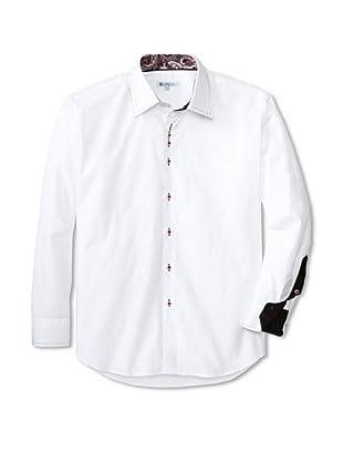 Café Bleu Men's Atom Floral Jacquard Sportshirt (White)