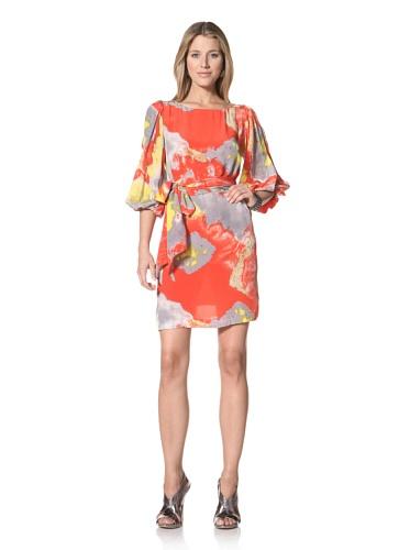 Halston Heritage Women's A-Line Dress (Poppy Water Mirage Print)