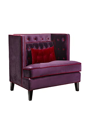 Armen Living Moulin Velvet Chair, Purple/Red