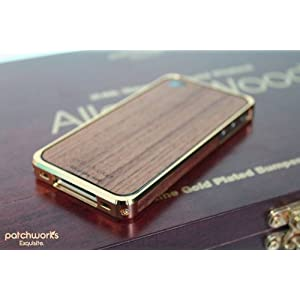 PATCHWORKS アルミ×ウッドバンパーケース Alloy X Wood Bumper for iPhone 4/4S - 24K×Teak P-5004